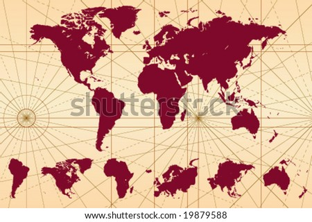 continents of world. illustration of world map