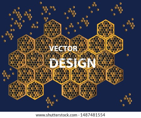 Vector background image in the form of structured hexagons. The texture is developed on the basis of honeycomb