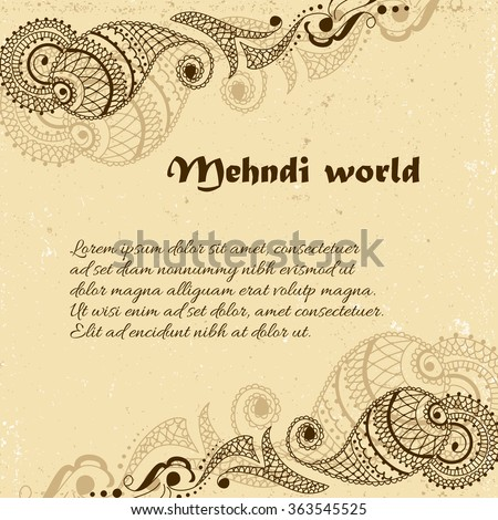 Vector background in indian ornamental style. Mehndi paisley ornament. Hand drawn ethnic pattern. Henna tattoo theme. Square template for business card with place for text