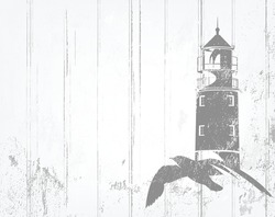 vector background in shades of grey with flying sea gull and lighthouse tower outline over white wooden planks and shabby paint