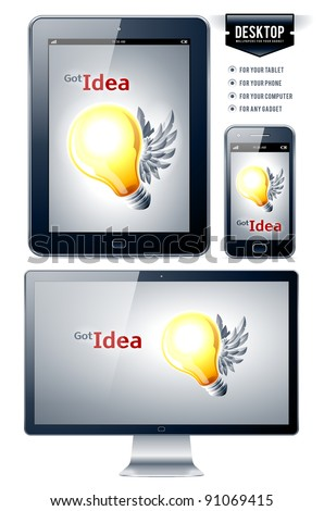 Vector background. Lamp with wings. Great desktop for your gadgets.
