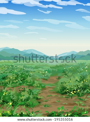 vector background landscape valley and mountains