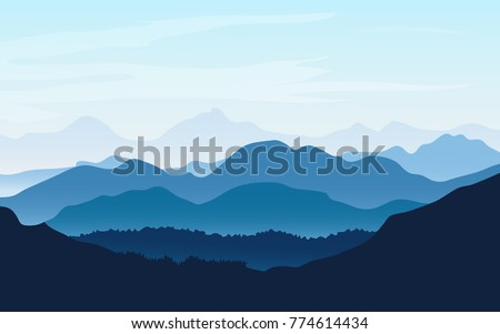 Vector background landscape with blue silhouettes of mountains