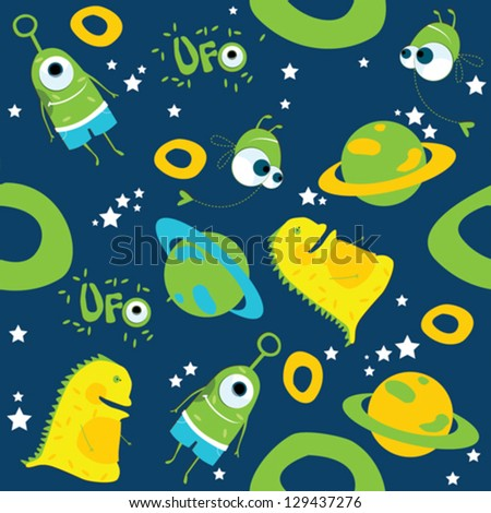 Vector background. Monsters. UFO on blue background - stock vector