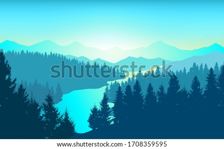 Vector background. Morning in beautiful mountains with river. Abstract illustration mountains and dense forest down to the valley in the foreground. Mountain landscape.