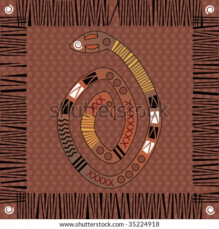 Vector background native african style design with snake.