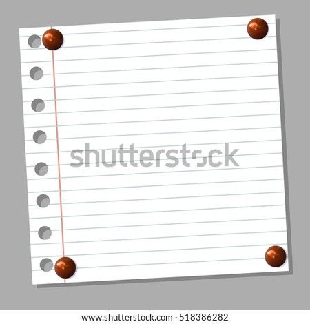 VECTOR background: notebook page with realistic red pin buttons