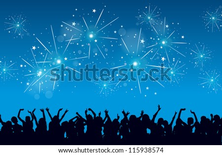 Vector background of a New Year eve celebration with silhouettes of raving people and fireworks.