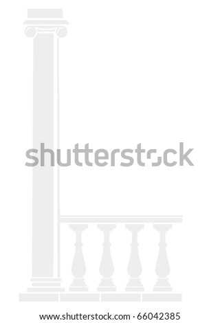 Vector background of architectural elements - Silhouettes of balustrade and column.