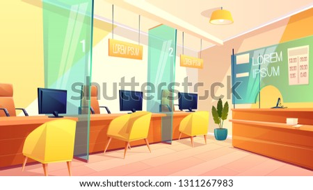 Vector background of bank office, counters for managers and clients. Bright interior of finance place, consulting lobby and showcase with exchange rate. Business concept.