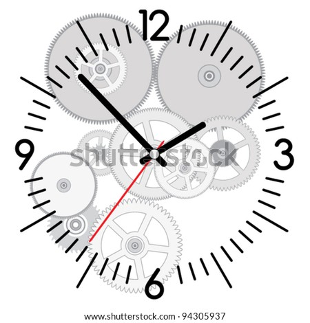 vector background of clock and gears