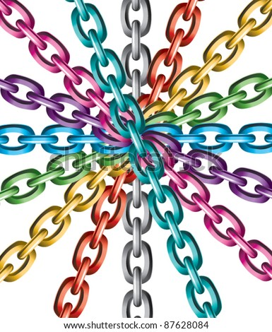 vector background of colorful metal chains