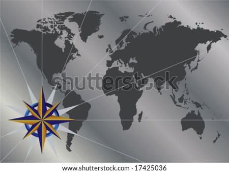 Vector background of compass over world map
