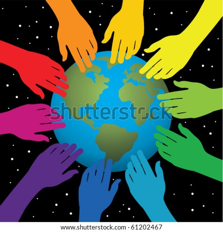 vector background of hands touching earth