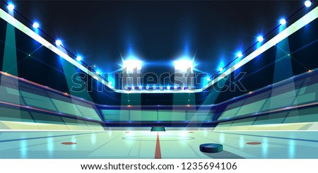 Vector background of hockey arena, ice rink with black rubber puck. Sports stadium with spotlights for competition, tournament. Empty area, fan sector. Backdrop for skating, team game concept.
