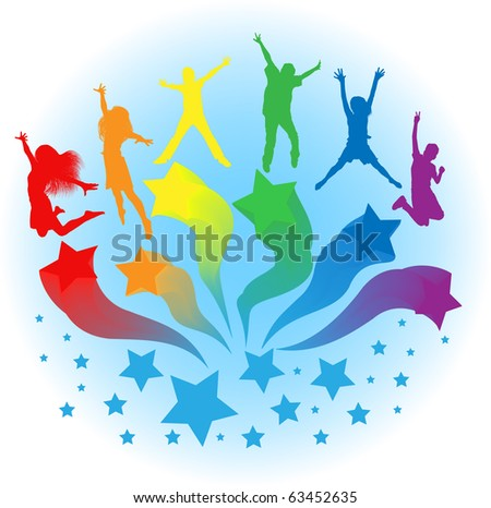 vector background of kids jumping