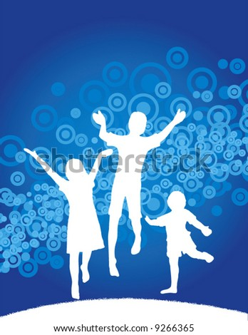 Vector background of kids jumping with space for text