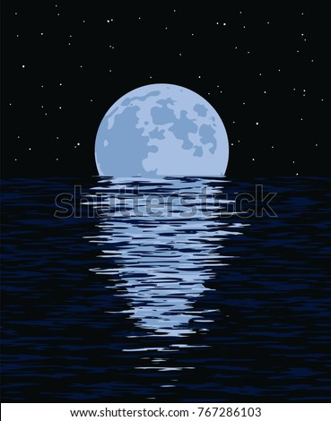 vector background of sea and full moon at night. illustration of light reflection of moonlight in wavy ocean water and stars in black sky. beautiful nature landscape of moon and sea.