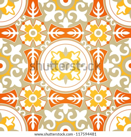Vector Background of Soft Floral Geometric Seamless Pattern