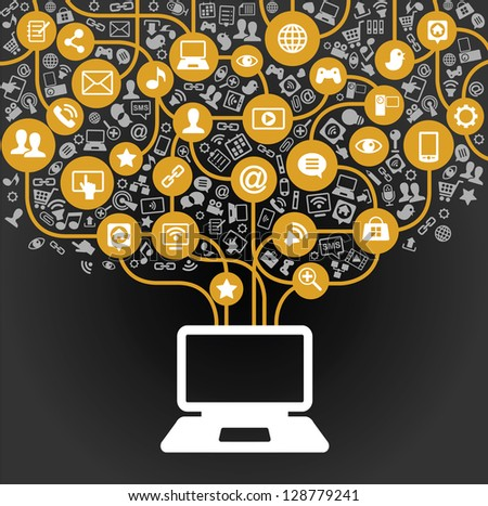 vector background of the icons social computer network