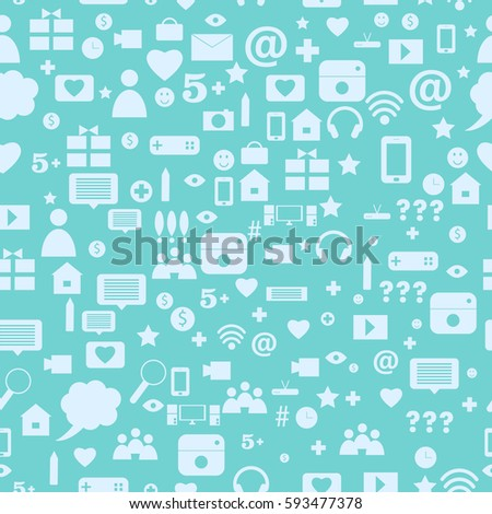vector background of the icons social computer network. Seamless pattern