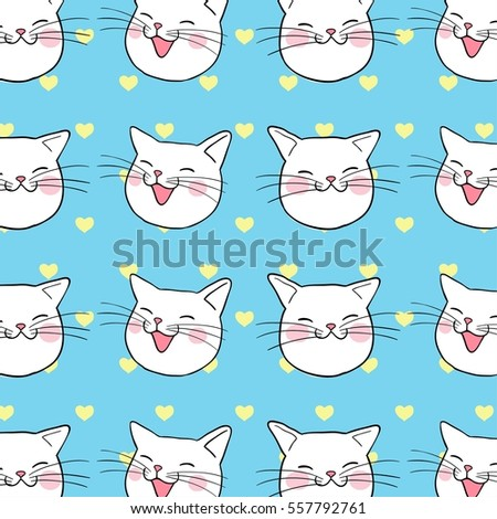 Vector background pattern of head cute cat valentine on blue pastel.