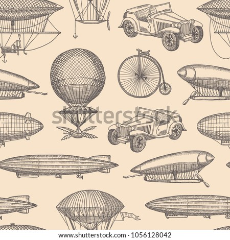 Vector background pattern with steampunk hand drawn airships, bicycles and cars illustration