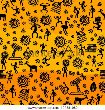 Vector background - prehistoric seamless (style petroglyphs)