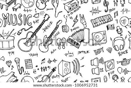 Vector Background Seamless pattern with hand drawn Sport doodle