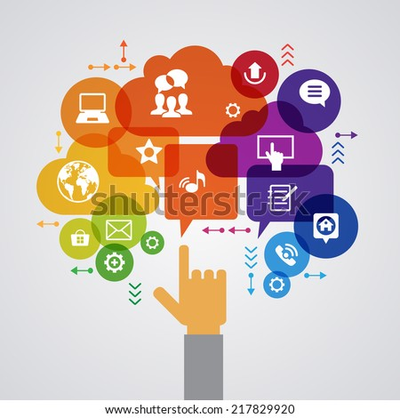 Vector background. Social media concept. Communication in the global computer networks. Set of flat design concept icons for web and mobile services. Human hand, and symbols in the form of a tree.