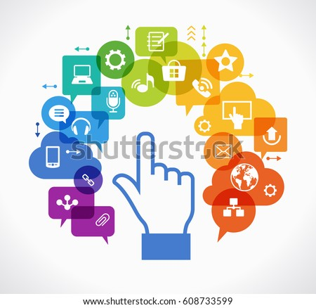 Vector background. Social media concept. Ð¡ommunication in the global computer networks. Set of flat design concept icons for web and mobile services. Human hand, and symbols in the form of a tree.
