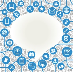 vector background speech bubble shape formed by the social media icons and words