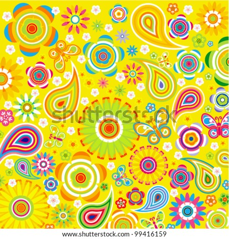 Vector background - spring flower pattern with butterfly