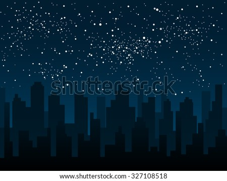 Vector background. Starry night sky. Stars, sky, night. Silhouette of the city.