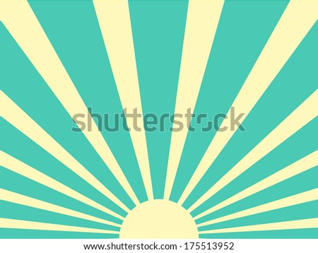 Vector background sun ray with green and white retro color