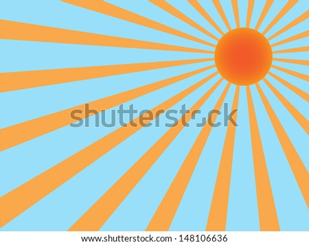 vector background sun rays orange and blue
