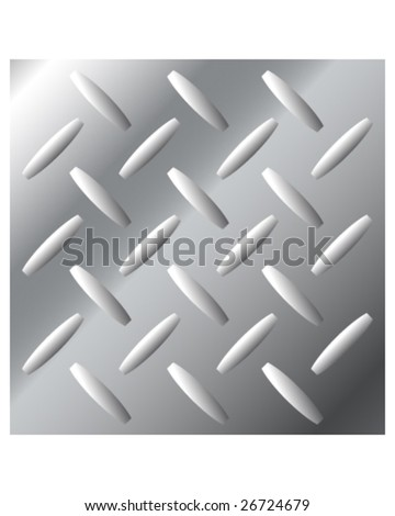 Vector background texture of shiny stainless steel metal with large diamond crosshatch tread pattern