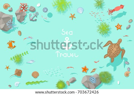 Stock Photo Vector background. The bottom of the sea view from above. Turtles, crabs, fish, corals, starfish, seaweed, shells, jellyfish. (Top view)