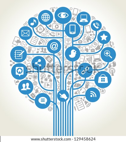 vector background tree shape formed by the social media icons and words