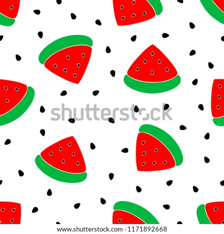 Vector background watermelon slices with watermelon seeds. Seamless red watermelons pattern.