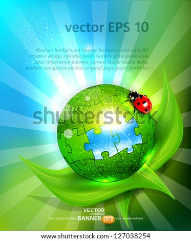 vector background with a ball of puzzles lying on green leaf with ladybug