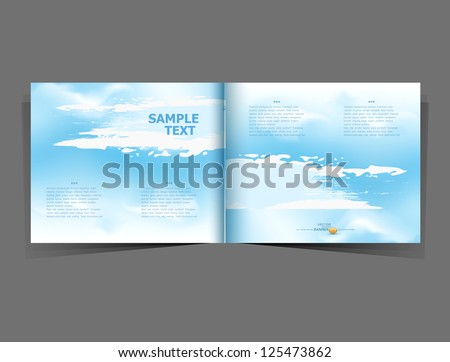 vector background with a blue sky in the form of a booklet