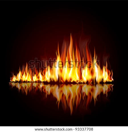 vector background with a burning flame
