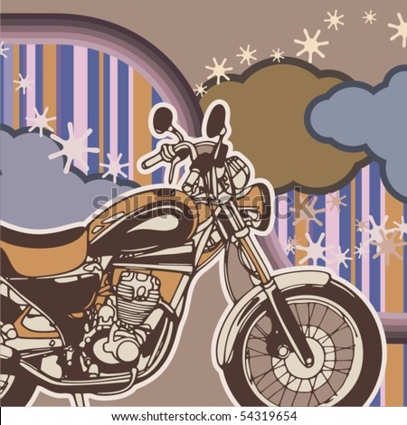 Vector background with a chopper motorcycle.