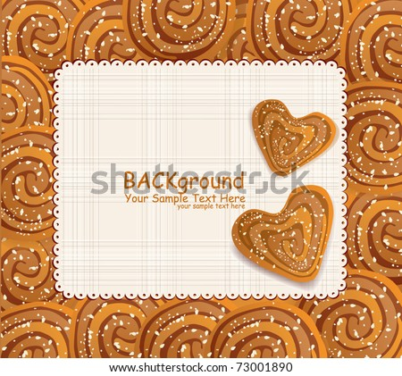 vector background with a heart-shaped cookies sprinkled with sesame seeds and sugar