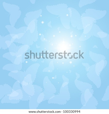 Vector background with a lot of butterflies in the sky - stock vector