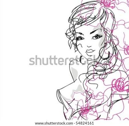 VECTOR background with a portrait of the beautiful young girl