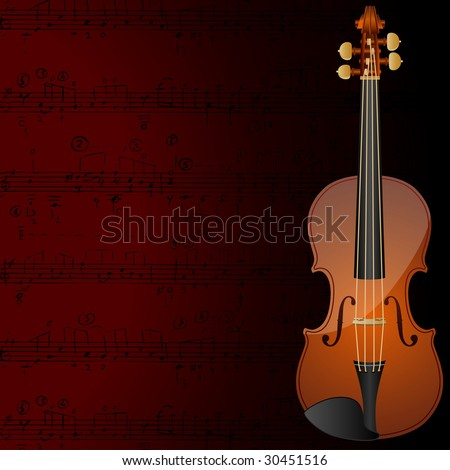 Vector background with a violin and musical notes.