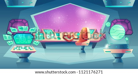 Vector background with alien spaceship orlop with helm and porthole. Control panel with screens for cockpit in rocket. Devices, interior of flying craft in open space