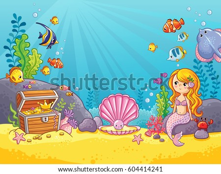 Stock Photo Vector background with an underwater world in a children's style. A mermaid is sitting on a rock. Wooden chest with gold on the bottom of the sea. Seabed in a cartoon style.